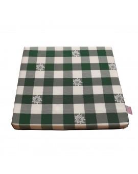 Sitzkissen Karo mit Edelweiß grün-weiß komplett