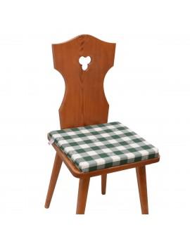Sitzkissen Karo mit Edelweiß grün-weiß komplett auf Stuhl