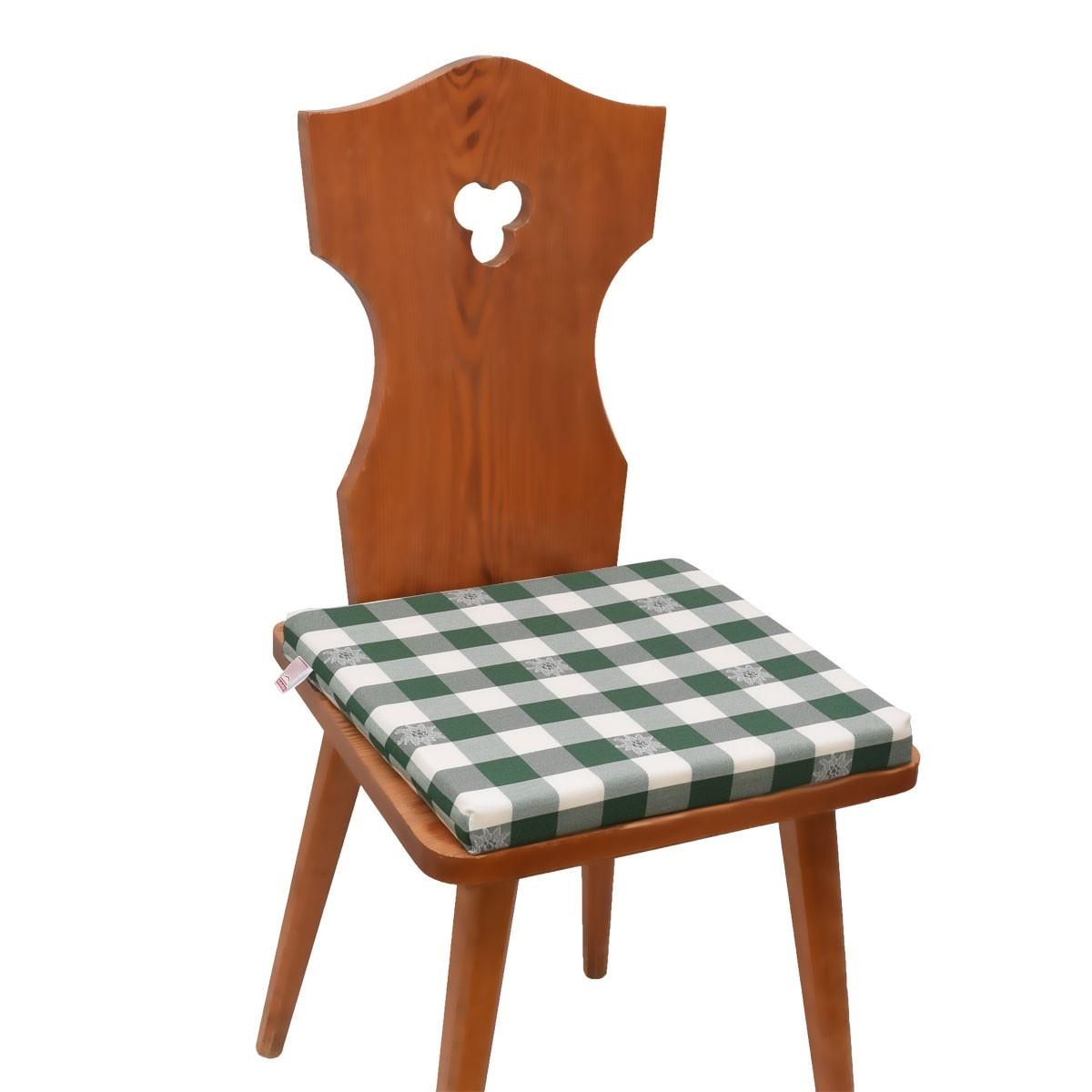 Kissen Sitzkissen Karo Mit Edelweiß Grün Weiß Komplett