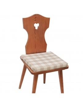 Sitzkissen Karo mit Edelweiß beige-weiß komplett auf Stuhl