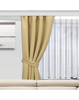 Wohnmobil-Vorhang Mattis beige einzeln mit Raffhalter und Store Anna