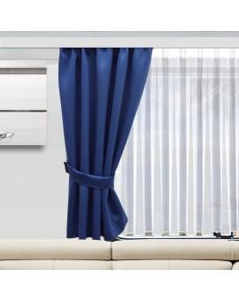 Wohnmobil-Vorhang Mattis blau einzeln mit Raffhalter