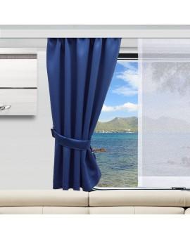 Wohnmobil-Vorhang Mattis blau mit Sophie Fläche