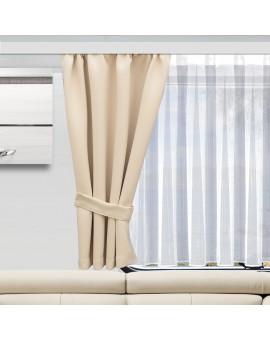 Wohnmobil-Vorhang Mattis hellbeige mit Raffhalter einzeln und Anna