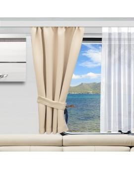 Wohnmobil-Vorhang Mattis hellbeige mit Raffhalter und Anna