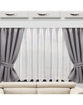Raffhalter zu Wohnmobil-Vorhang Mattis grau - Set (2er-Pack) Beispiel mit Store Biella