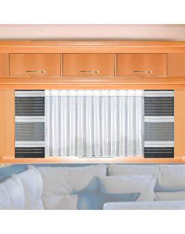 Wohnwagen-Caravan-Store ANNA weiß Flachfaltenband mit Flächengardine grau gestreift