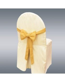 Schmuckschleife Hetty für Stuhlhussen und Stehtische Gelb an einem Stuhl