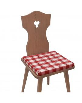 Sitzkissen Karo mit Hirsch rot-weiß komplett