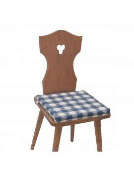 Sitzkissen Karo mit Hirsch blau-weiß komplett