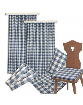 Sitzkissen Karo mit Hirsch blau-weiß komplett passende Produkte