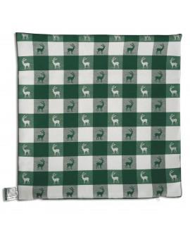 Sitzkissen Karo mit Hirsch grün-weiß komplett nur Hülle