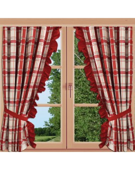 2er Set Dekoschal Hetty Rot kariert Rüsche an einem Fenster