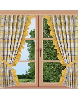 2er Set Dekoschal Hetty Gelb kariert mit Rüsche am Fenster