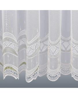 Gardinenstore Luisa mit Stickerei-Kante Grün Detailansicht Unterkante