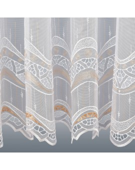 Gardinenstore Luisa mit Stickerei-Kante Apricot Detailbild Unterkante