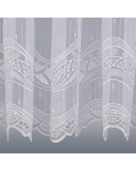 Gardinenstore Luisa mit Stickerei-Kante Weiß Detailansicht Unterkante