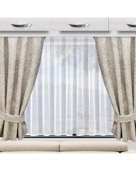 Wohnmobil-Vorhang LUCA beige Beispielbild mit Raffhaltern