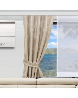Wohnmobil-Vorhang Nautis beige gerafft mit passendem Raffhalter