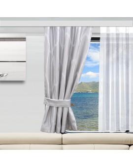Wohnmobil-Vorhang Nautis hellgrau gerafft an einem Wohnwagenfenster
