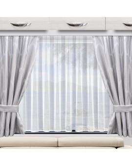 Wohnmobil-Vorhang Nautis hellgrau Beispielbild mit 2 Stück