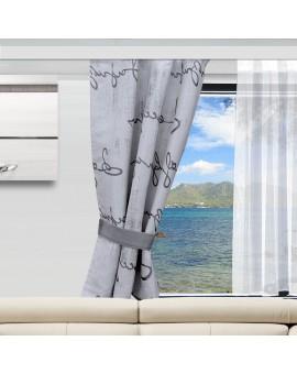 Wohnmobil-Vorhang IVO grau an einem Wohnmobilfenster