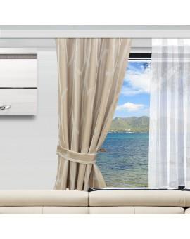 Raffhalter NAUTIS beige Beispielbild an einem Wohnmobilfenster