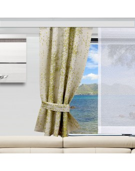 2 Raffhalter LUCA grün an einem Caravan-Fenster