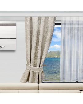 2 Raffhalter LUCA beige an einem Wohnwagenfenster