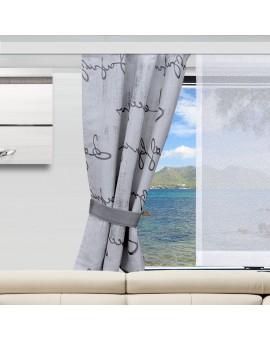 2 Raffhalter IVO grau an einem Wohnwagenfenster