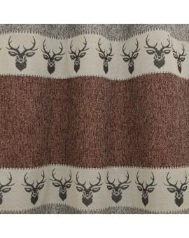 Hochwertiger Dekoschal Alpin Hirsch rost Reihband Detailbild