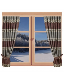 Hochwertiger Dekoschal Alpin Hirsch rost Reihband am Fenster Winter