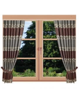 Hochwertiger Dekoschal Alpin Hirsch rost Reihband am Fenster Sommer
