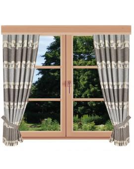 Hochwertiger Dekoschal Alpin Hirsch braun Reihband am Fenster Sommer