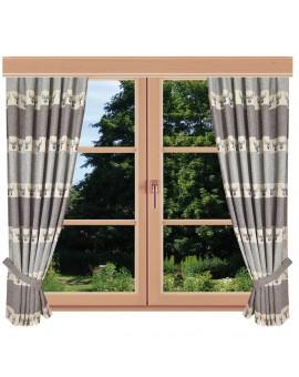 Hochwertiger Dekoschal Alpin Hirsch grau Reihband am Fenster Sommer