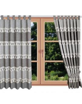 Hochwertiger Schlaufen-Dekoschal Alpin Hirsch grau am Fenster Sommer