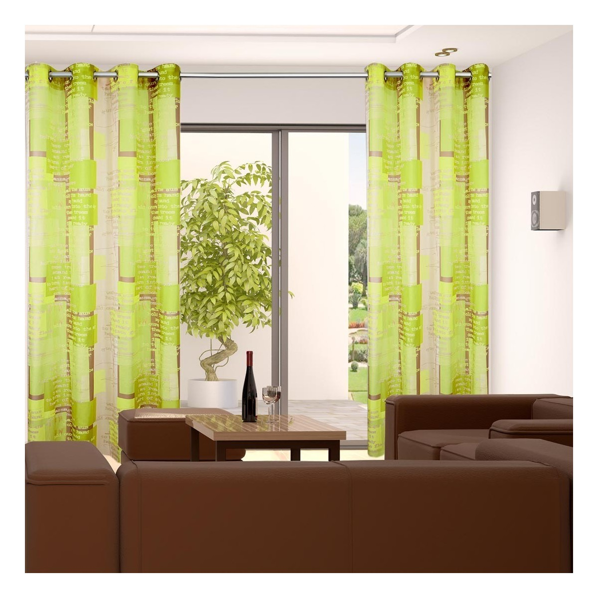 "Ösenschal ""Coventry"" Vorhang Dekoschal 8 Ösen | grün | Höhe kürzbar nach Wunsch"
