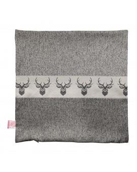 Hochwertige Kissenhülle Alpin Hirsch grau 40x40 cm ohne Füllung