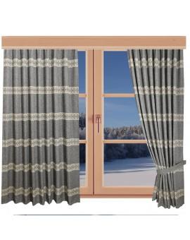 Hochwertiger Dekoschal Albergo Raute grau Reihband am Fenster Winter