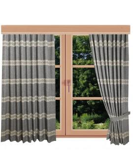 Hochwertiger Dekoschal Albergo Raute grau Reihband am Fenster Sommer