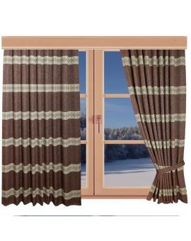 Hochwertiger Dekoschal Albergo Raute rost Reihband am Fenster Winter
