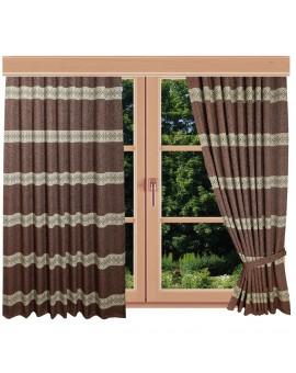 Hochwertiger Dekoschal Albergo Raute rost Reihband am Fenster Sommer