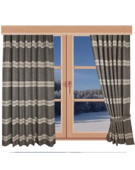 Hochwertiger Dekoschal Albergo Raute braun Reihband am Fenster Winter