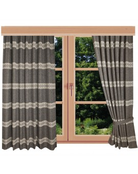 Hochwertiger Dekoschal Albergo Raute braun Reihband am Fenster Sommer