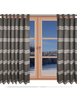 Hochwertiger Schlaufen-Dekoschal Albergo Raute braun am Fenster Winter