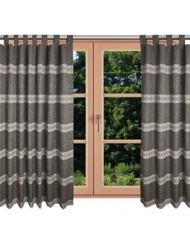 Hochwertiger Schlaufen-Dekoschal Albergo Raute braun am Fenster Sommer