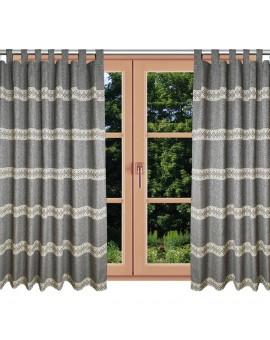 Hochwertiger Schlaufen-Dekoschal Albergo Raute grau am Fenster Sommer