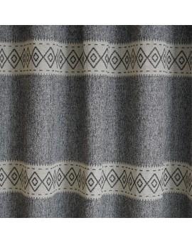 Hochwertiger Schlaufen-Dekoschal Albergo Raute grau Stoffmuster
