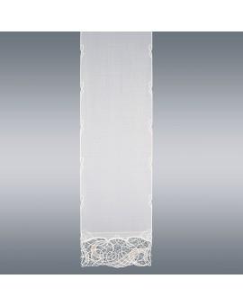 Hochwertige Flächengardine Venna aus Plauener Spitze weiß-taube Käseleinenoptik schmal