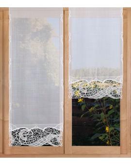 Hochwertige Flächengardine Venna aus Plauener Spitze weiß-taube Käseleinenoptikam Fenster